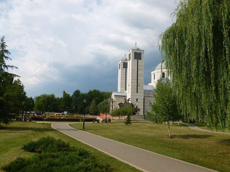 Park Sveti Sava a pravoslávny kostol zasvätený svätému Savovi