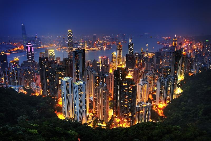 Hong Kong nočný výhľad