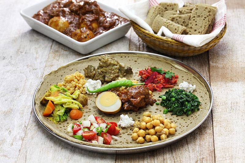 Injera chlieb Etiópia